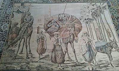 """Antique BELGIUM or FRENCH TAPESTRY Arabian Middle East LARGE 67""""x49""""."""