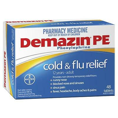 * Demazin Pe Cold And Flu Relief 48 Tablets 12 Years - Adult Non-Drowsy