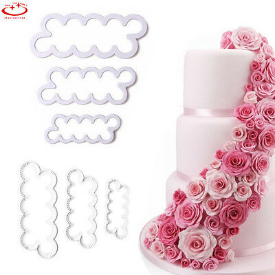 3pcs Rose Flower Biscuit Pastry Cookie Cutter Fondant Cake Decoration Mould Tool