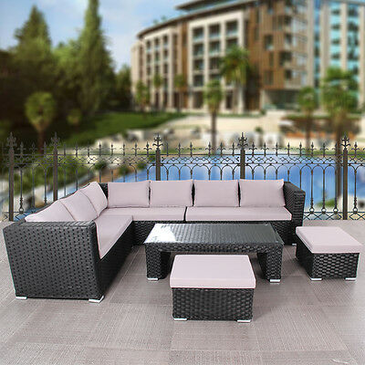 9 Seater Black Cube Rattan Garden Furniture Set Chairs Sofa Table Wicker Outdoor
