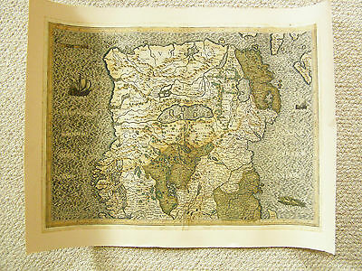 An authentic late 16th century map of the northern half of Ireland by Mercator.