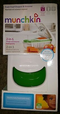 Munchkin 2 in 1 Fresh Food Chopper and Steamer Baby Toddler Feeding NEW in BOX