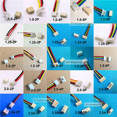 10x Mini Micro JST SH1.0 PH2.0 XH2.5 JST Connector plug with Wires Cables