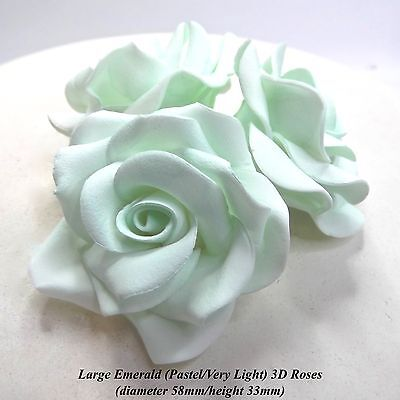 1, 3, 6 or 12 Large Mint Green 3D Sugar Roses cake decoration 58mm NON-WIRED