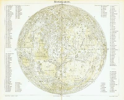 The Moon antique map 1896 - astronomy space crater Earth satellite NASA Apollo 8