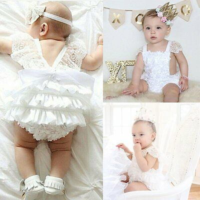 Infant Baby Girl Clothes Lace Floral Bodysuit Romper Cake Sunsuit Outfits 0-24M