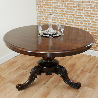 Antique Original Victorian Mahogany Round Tilt Top Dining Breakfast Table Carved