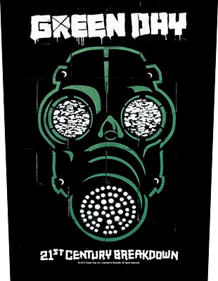 Green Day Gas Mask Back Patch XLG free worldwide shipping