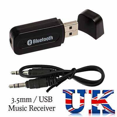 3.5mm Bluetooth Receiver Stereo Wireless USB AUX Audio Music Car Speaker Adapter