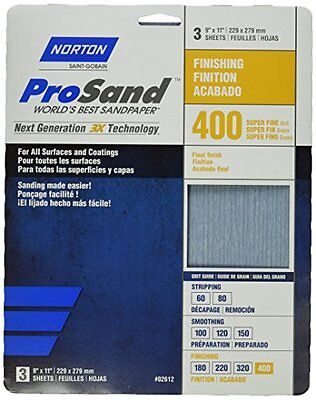 Norton 02612 9 X 11-Inch 400 Grit 3X High Performance Sheets, 3-Pack
