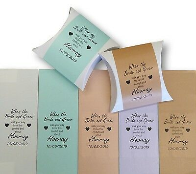 100 x PERSONALISED CONFETTI POUCH BOXES WHITE AND COLOURED LABELS WEDDING FAVOUR