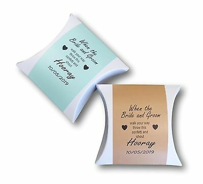 50 x PERSONALISED CONFETTI POUCH BOXES WHITEAND COLOURED LABELS WEDDING FAVOUR