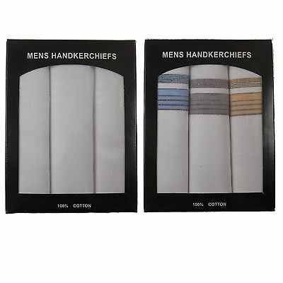 Mens Hankerchiefs / Hankies Pack Of 3 100% Pure Cotton In Presentation Box