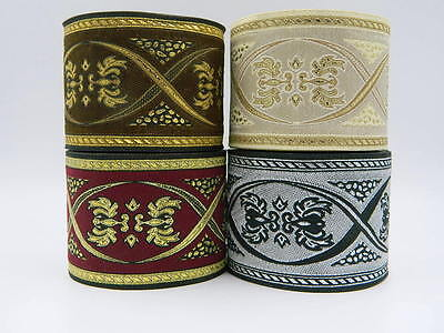 10m Jacquard Ribbon/Trim Medieval/Renaissance 70mm width Various colours