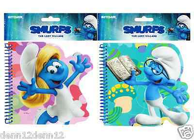 SMURFS DIE CUT NOTEBOOKS JUST 89p  x 6 SETS, 2 DESIGNS, HARD BACK BOOK,