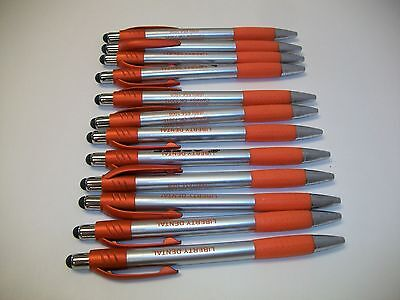 12 Lot Misprint Ink Pens with Soft Tip Stylus for Touch Screen, Orange Barrel