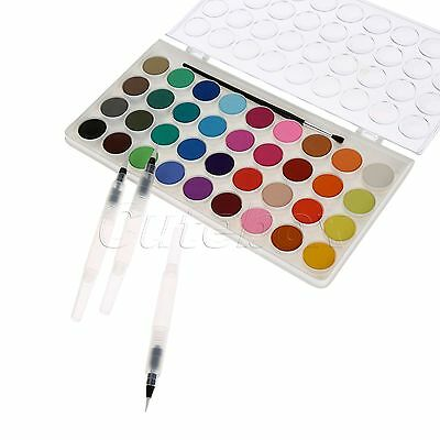 Strong Artistic Appeal 36 Colors Solid Cakes Watercolor & Water Brush Ink Pen X3