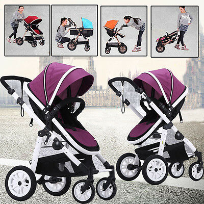 New 4 In 1 Baby Toddler Reversible Pram Stroller Jogger Aluminium With Bassinet