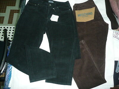 MOSCHINO COUTURE Skinny Jeans Hose mit Oversize Gold Logo Dunkel Blau 05421