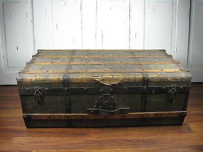 Antique Vintage Steamer Trunk Flat Top Canvas Slat Wood Chest Coffee Table