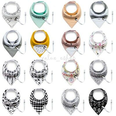 4pcs Infant Baby Cotton Bandana Drool Bibs Towel With Pacifier Clip for Boy Girl