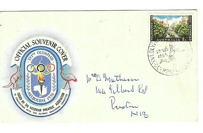 Australia Pre-Decimal 1956 Olympic Games FDC with Athletes signatures on back