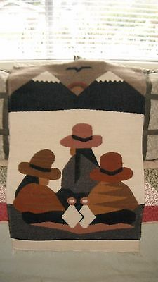 Expertly Hand Woven Wool Wall Hanging South Western Design 32 x 22