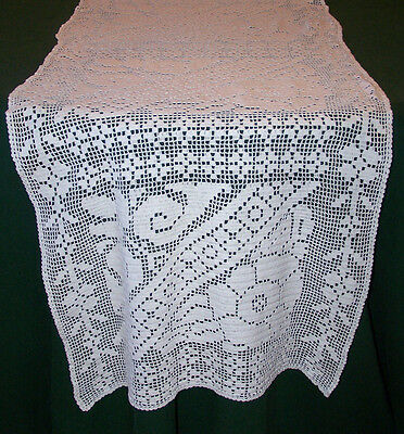 "Extraordinary Hand Crocheted Filet Lace Runner, 72"" Long, Rose Motif, White 1920"