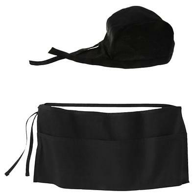 2 Pieces Professional Waiter Uniform Set, Adjustable Cap and Mini Apron