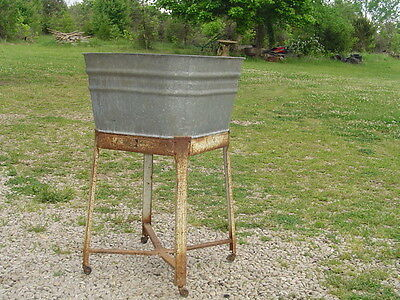 *LPU* Vintage WASH TUB galvanized with stand antique laundry clothes