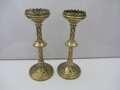 Antique Brass Gothic Arts And Crafts Candlesticks Pair
