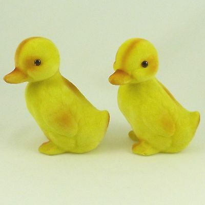 "Set of 2 Vintage Flocked Fuzzy Yellow Easter Duck Duckling Figurines 3.5"" Tall"
