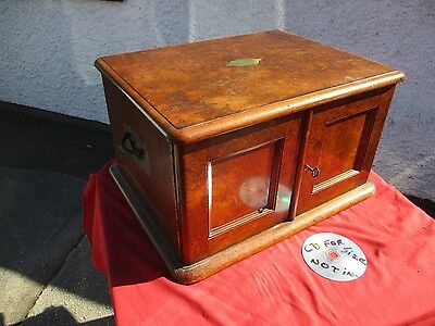 Victorian  Walnut Cutlery  Chest  With  Side  Carry  Handles  &  Key.