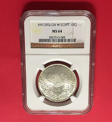 Egypt -AH1293//24 10 KURSH CERTIFIED BY NGC MS 64..ex.rare in this high grading