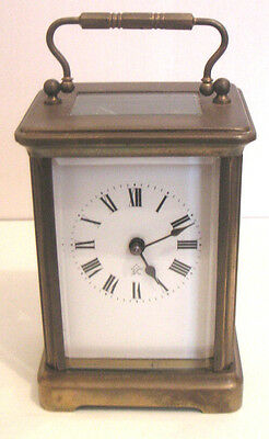 French Brass Case Timepiece white enamel dial Carriage Clock in Original Case