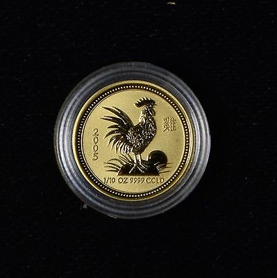 Rare 2005 $15 Australia Gold 1/10 Oz Lunar Rooster Series I Gold Coin In Ogp