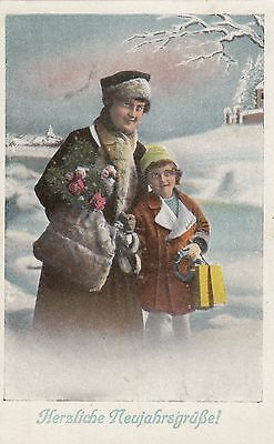 Colored Art Nouveau Holidays  Postcard Christmas Wishes from 1919 Switzerland