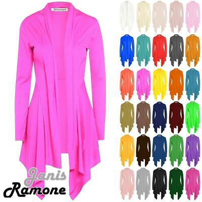 New Womens Open Front Plain Long Sleeve Waterfall Cardigan Ribbed Drape Coat Top