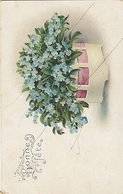 Colored Art Nouveau Holidays  Postcard Christmas Wishes from 1916 Switzerland
