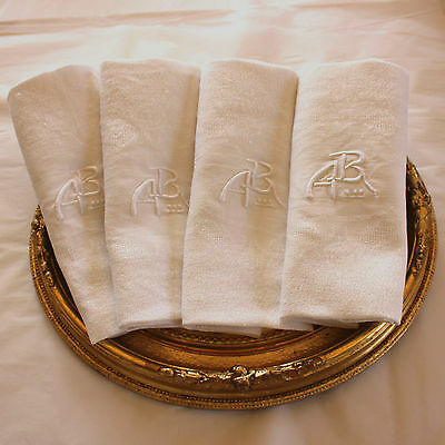 10 Antique French Linen Monogrammed Napkins A B