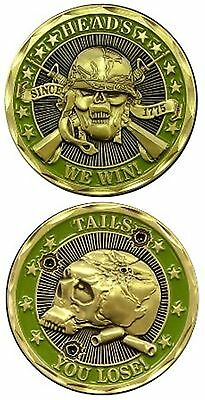 US Army Heads We Win Tails We Loose Military Challenge Coin Skull and Crossbones