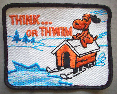 Winter Peanuts Snoopy on dog house with skis Think or Thwin patch