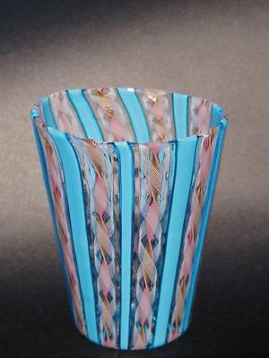 Delightful Murano glass Latticino / Zanfirico pink and aqua tumbler.