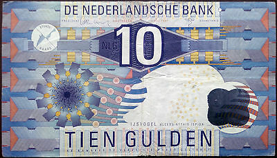 Netherlands banknote - 10 gulden - year 1997 - geometrical design- free shipping