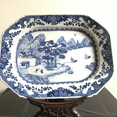 Antique Chinese Blue and White Rectangle Porcelain Plate Landscape
