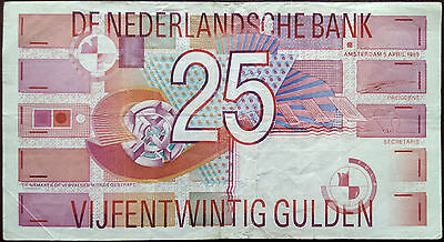 Netherlands banknote - 25 gulden - year 1989 - geometrical design- free shipping