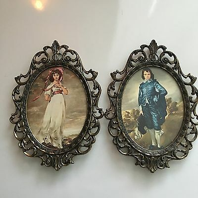 A Pair Antique Brass Made in Italy Decorative Picture Photo frame Victorian Art