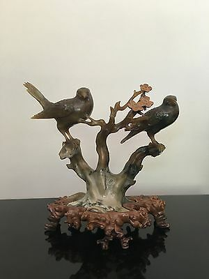 Beautiful Chinese Natural Jade Hand-Carved Birds Statue