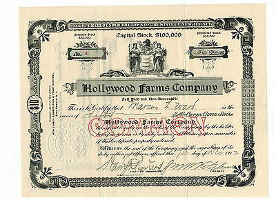 Hollywood Farms Company 1912 Stock Certificate  #4