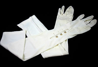 Gloves Vintage 1950s Long White Opera Length Pearl Buttons Nylon Stretch